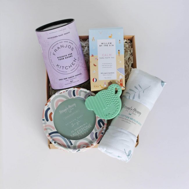 Baby shower gift box from The Wholesome Gift Box perfect to welcome baby
